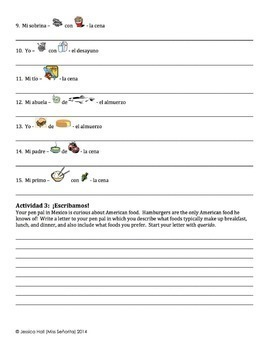 Spanish Meals Writing Activities with Pedir - singular only