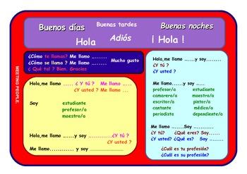 "Spanish "" Meeting People""  vocabulary board ."