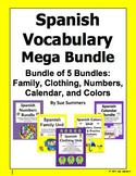 Spanish Vocabulary Mega Bundle - Family, Clothing, Numbers, Colors, Calendar
