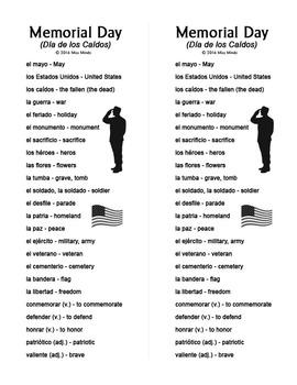 Spanish Memorial Day: Día de los Caídos Vocabulary Sheet and Word Search Puzzle