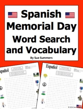 Spanish Memorial Day Word Search Puzzle Worksheet and Vocabulary