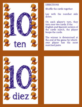 Spanish Memory Game (Numbers 0-10)