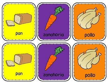 Spanish Memory Game on Food