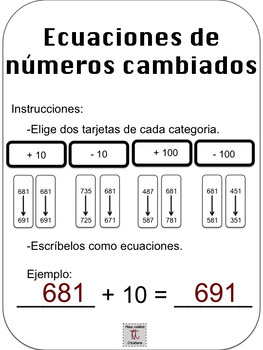 Spanish:Mental Math-Sorting + extension(+/-10, +/-100) Math Centers/2nd Grade