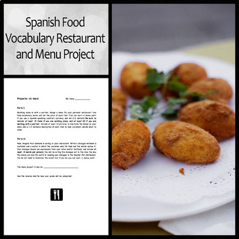 Spanish Menu and Restaurant Project for Food Vocabulary