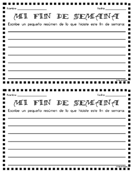"Spanish ""Mi Fin De Semana"" Writing Activity"