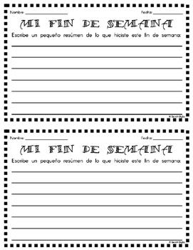 "Spanish ""Mi Fin De Semana"" Writing Activity"