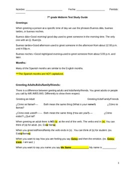 Spanish Middle School Midterm Study Guide
