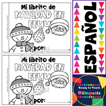 Spanish Mini-Book / Christmas in USA / Color and B&W Versions