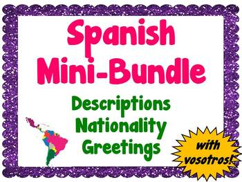 Mini-Bundle: Descriptions/Nationality/Greetings (Spanish)