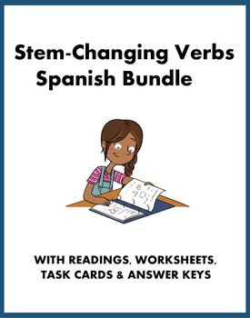 Spanish Mini Bundle: Stem Change / Shoe Verbs: Task Cards, Worksheet, Reading