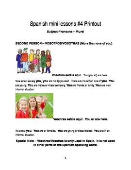 Spanish Mini-lesson-- Plural Subject Pronouns Wk Sheets