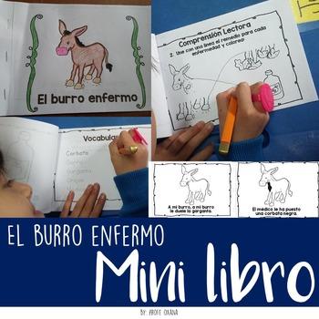 Spanish Mini book: El burro enfermo + Vocabulary + Reading comprehension