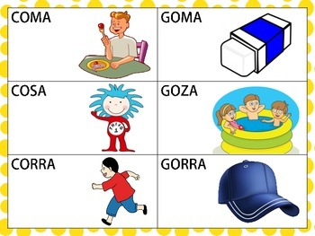 Spanish Minimal Pairs with /k/ and /g/ in the Initial Position of CVCV Words