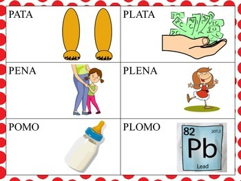Spanish Minimal Pairs with PL blends in the Initial Position of CVCV Words