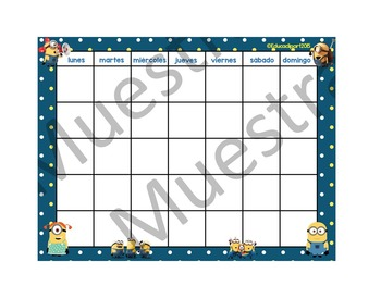 "Spanish Minions Calendar 24"" X 18"""