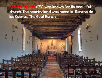 Spanish Missions Power Point with Notes and Quiz