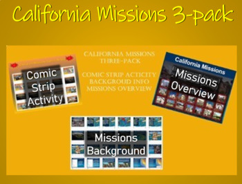 """Spanish Missions in California ALL 3 PPTs bundle (comics, background, missions)"