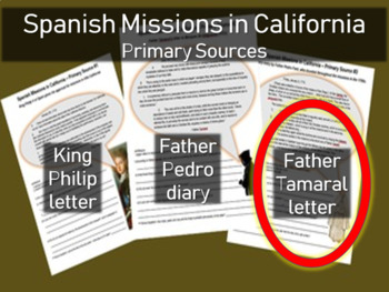Spanish Missions in California - Primary Source with Guiding Questions (3 of 3)