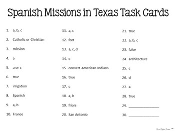 Spanish Missions of Texas Task Cards for Texas History 4th Grade