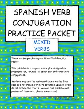picture about Spanish Verb Conjugation Chart Printable identified as Spanish Combined Verbs Conjugation Train Printable Packet