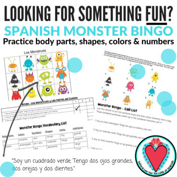 Spanish Monster Bingo - Spanish Parts of the Body, Shapes, Numbers & Colors