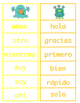Spanish Monster Sightword Bingo
