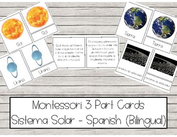 Spanish Montessori 3 Part Cards with definitions - Bilingual - Sistema Solar