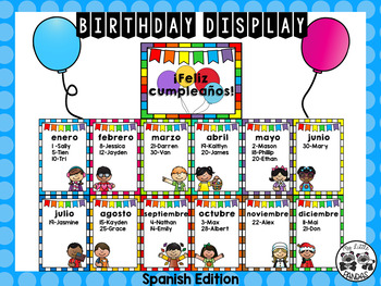 Spanish Monthly Birthday Display with Certificates and Toppers