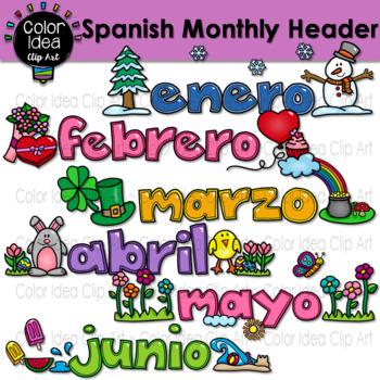 Spanish Monthly Header Clip Art
