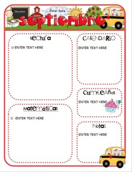 spanish monthly newsletter templates by mrs ricca s kindergarten