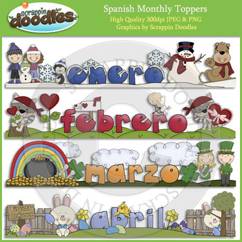 Spanish Monthly Toppers - January through December