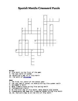 Spanish Months Crossword Puzzle