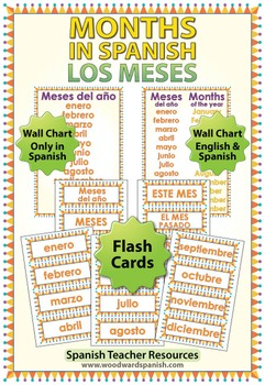 Spanish Months Flash Cards / Wall Charts - Los Meses
