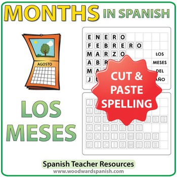 Spanish Months Spelling - Cut and Paste Activity