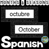 Spanish Months and Seasons Pocket Chart Cards and Worksheets Español Black