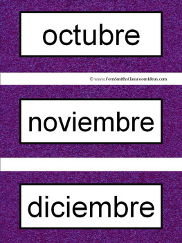 Spanish Months and Seasons Pocket Chart Cards and Worksheets Español Dark Purple