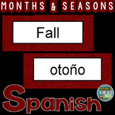 Spanish Months and Seasons Pocket Chart Cards and Worksheets Español Garnet