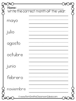 Spanish Months and Seasons Pocket Chart Cards and Worksheets Español Green