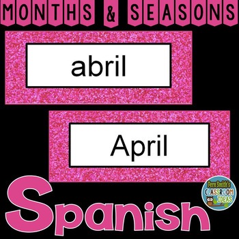 Spanish Months and Seasons Pocket Chart Cards and Worksheets Español Pink