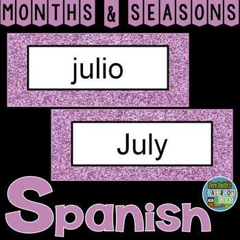 Spanish Months and Seasons Pocket Chart Cards and Worksheets Español Purple