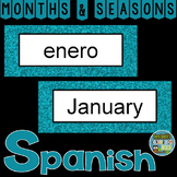 Spanish Months and Seasons Pocket Chart Cards and Worksheets Español Teal