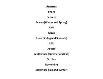 Spanish Months and Seasons Venn Diagram