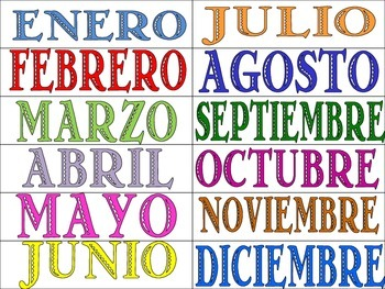 FREE!!! Spanish Months of the Year