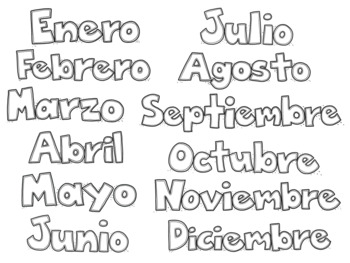 Spanish Months of the Year Clip Art