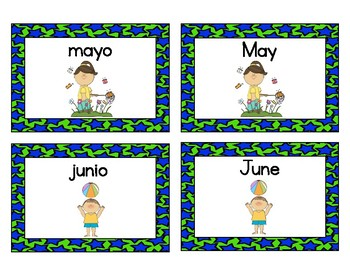 Spanish Months of the Year Concentration