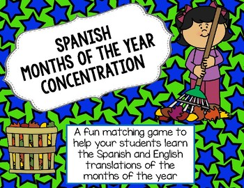 Spanish Months of the Year Concentration Matching Game