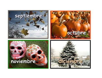 Spanish Months of the Year Flash Cards .4 cards for each  A4 page.