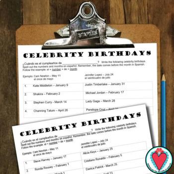 Spanish Calendar - Forming Dates in Spanish with Celebrity Birthdays