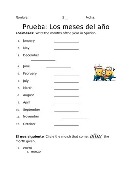 Spanish Months of the Year Quiz